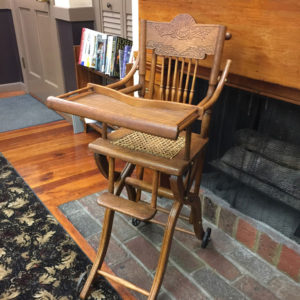 Antique oak highchair